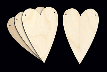 Heart Ornaments - set 4 sagome in legno