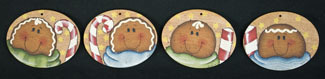 Gingerbread Oval Ornaments - 4 sagome in legno