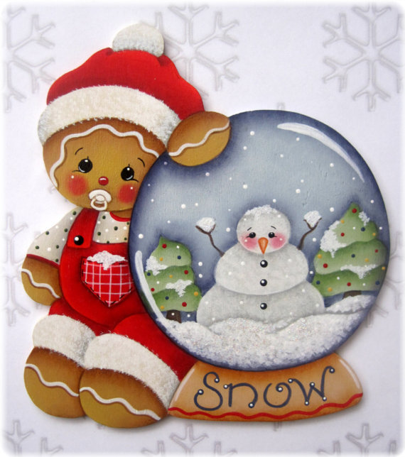 Baby Gingerbread with Snow Globe - sagoma in legno