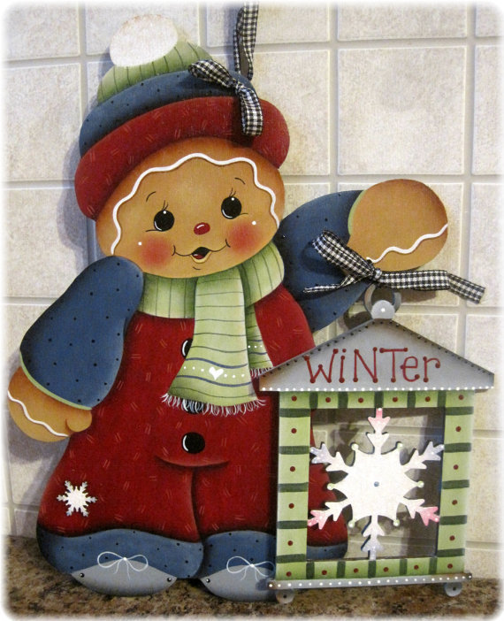 Gingerbread with Snowflake Lantern - set 2 sagome in legno