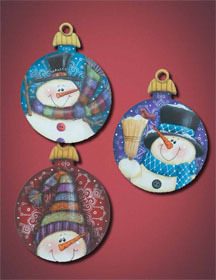 Cheery Snowman Fancy Round ornaments - 3 sagome in legno