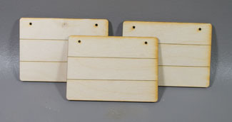 Grooved Rectangle ornaments - 3 sagome in legno