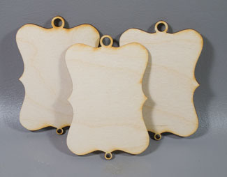 Fancy Rectangle ornaments - 3 sagome in legno