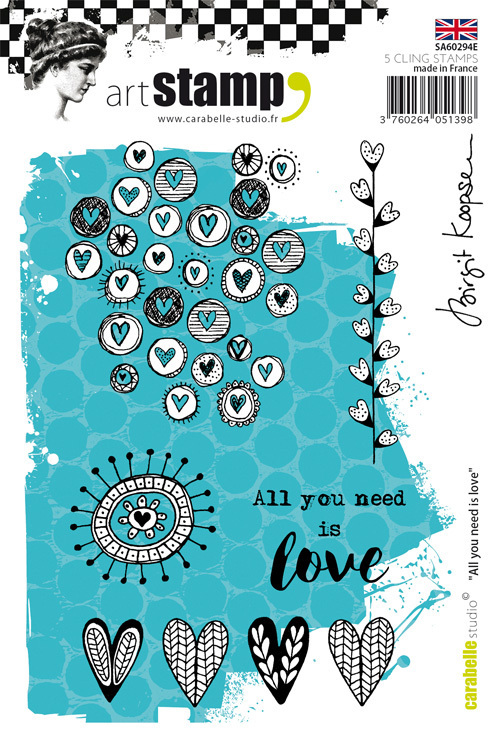 Cling Stamp A6 : All you need is love by Birgit Koopsen - Carabelle Studio