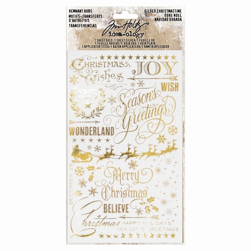 Tim Holtz - Ideaology - Sticker Remnant Rubs Gilded Christmas