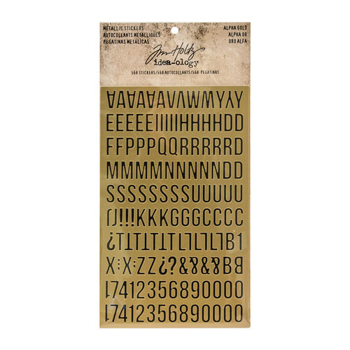 Tim Holtz - Ideaology - Metallic Stickers, Alpha Gold