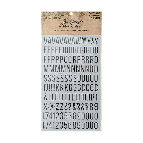 Tim Holtz - Ideaology - Metallic Stickers, Alpha Silver