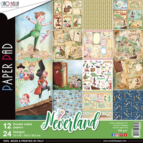 Set di 12 Carte 30x30 Ciao Bella Paper - Neverland