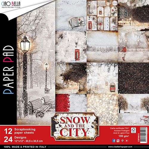 Set di 12 Carte 30x30 Ciao Bella Paper - Snow and the City