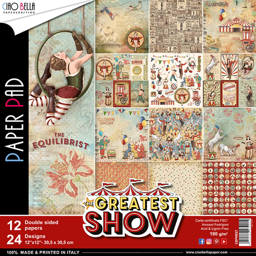 Set di 12 Carte 30x30 Ciao Bella Paper - The greatest show