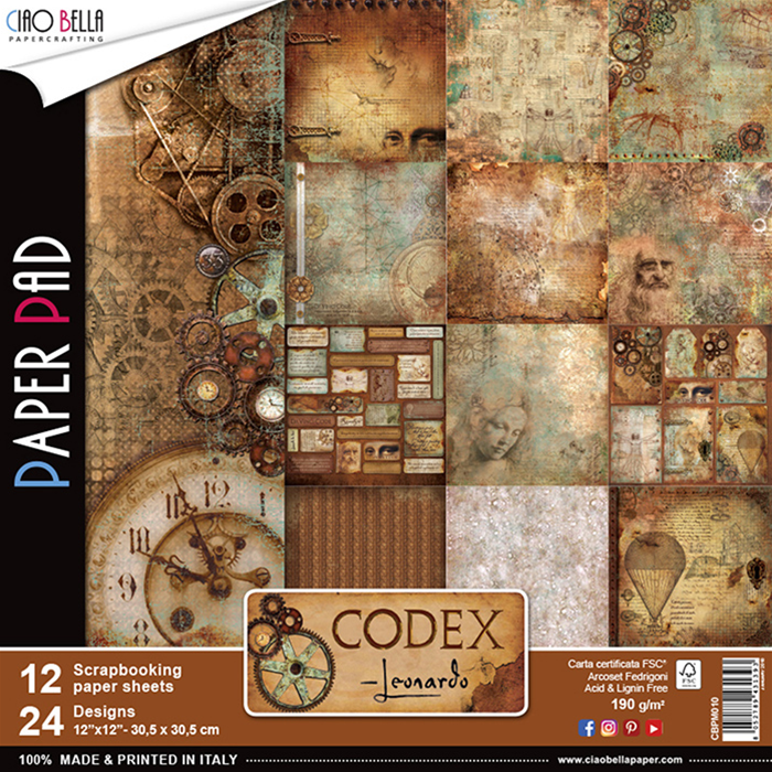 Set di 12 Carte 30x30 Ciao Bella Paper - Codex Leonardo