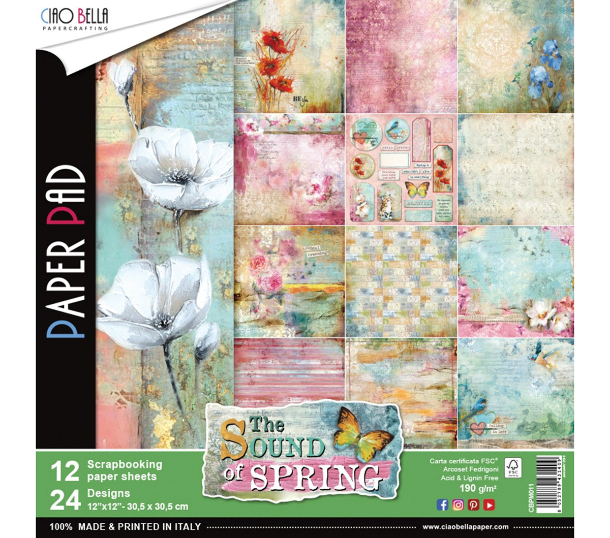 Set di 12 Carte 30x30 Ciao Bella Paper - The sound of Spring