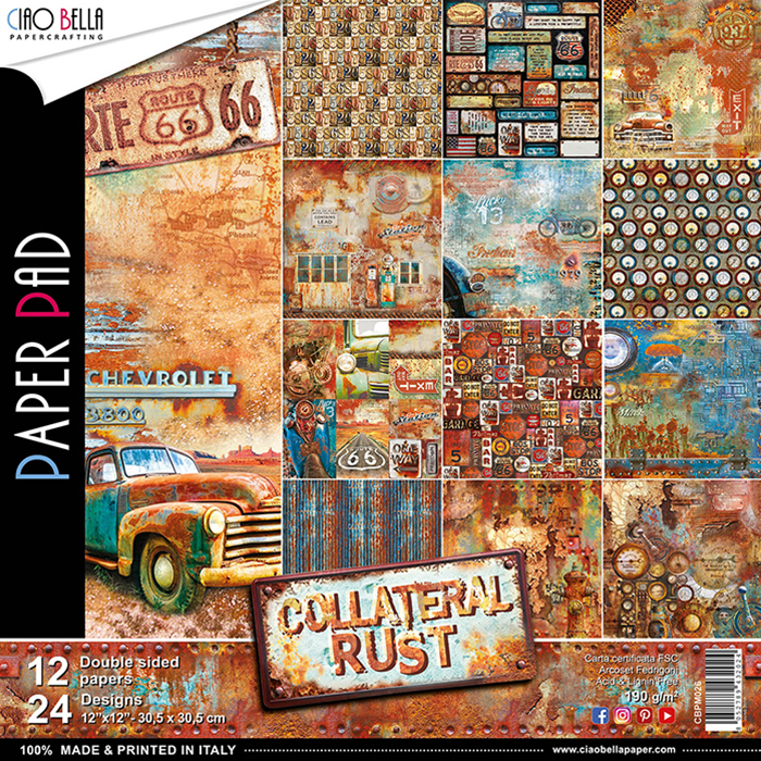 Set di 12 Carte 30x30 Ciao Bella Paper - Collateral rust