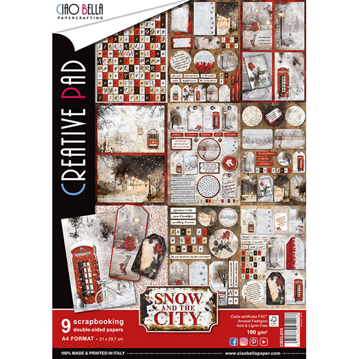 Set di 9 Carte A4 Ciao Bella Paper - Snow and the City