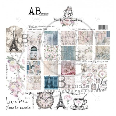 Set di 8 Carte 30x30 ABstudio - Shabby love symphony