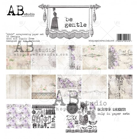 Set di 8 Carte 30x30 ABstudio - Be gentle