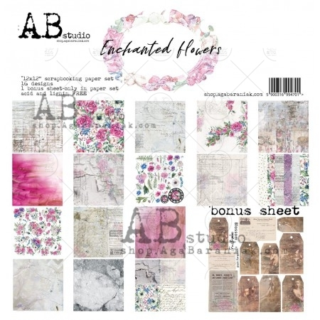 Set di 8 Carte 30x30 ABstudio - Enchanted flowers