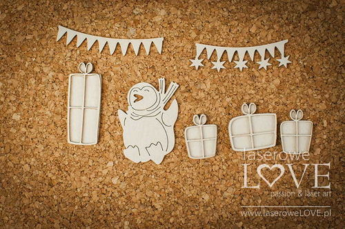Chipboard - Piguino e decorazioni natalizie