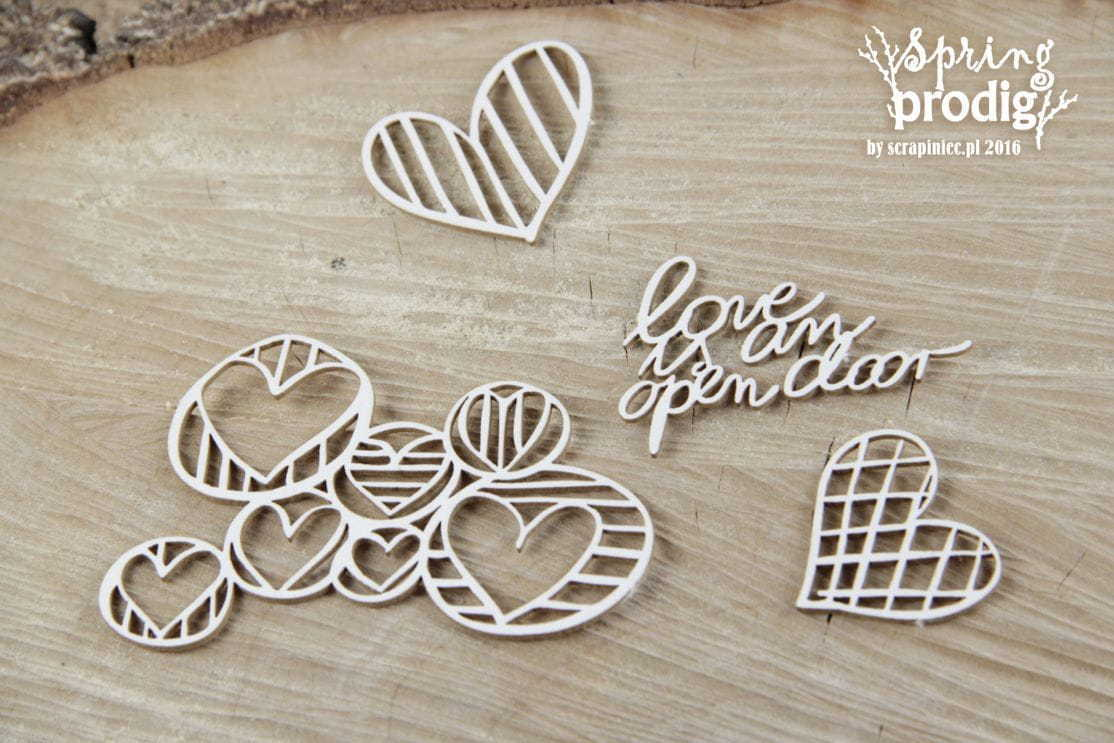 Chipboard Spring Prodigy Hearts - Scrapiniec