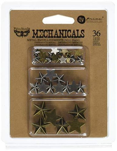 Mechanicals Metal Embellishments - Stars - Prima Marketing