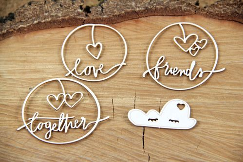 Chipboard Clouded Heart Together - Scrapiniec