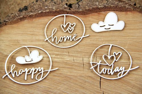 Chipboard Clouded Heart Happy - Scrapiniec
