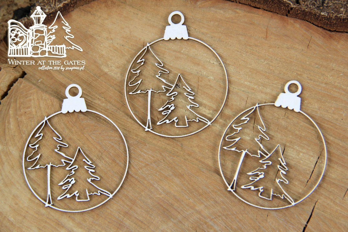 Chipboard Winter at the gates Baubles - Scrapiniec