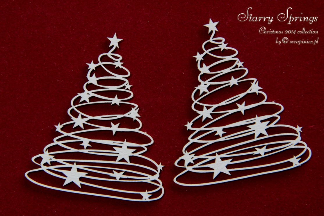 Chipboard Starry Springs Christmas Trees - Scrapiniec