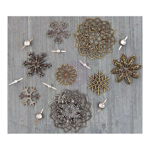 Mechanicals Metal Embellishments - Vintage Snowflakes - Prima Marketing